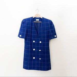 Vintage Blue Plaid Short Sleeve Blazer Dress
